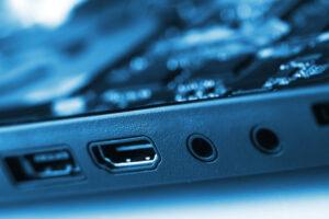 SATA, HDMI, Audio sockets on lap top.